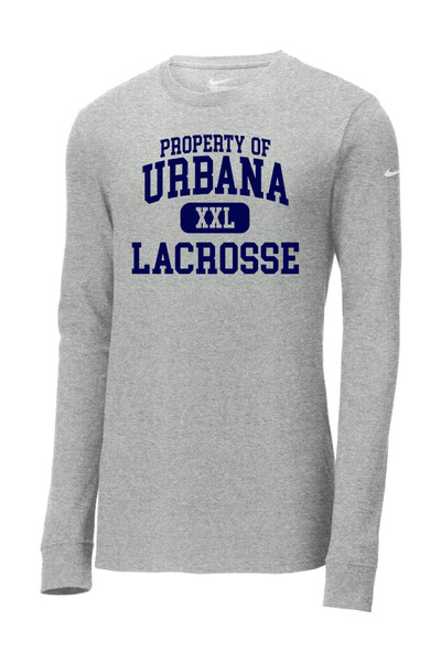 Urbana Hawks LACROSSE T-shirt LS NIKE Cotton Property Of Many Colors Available SZ S-3XL SPORTS GREY