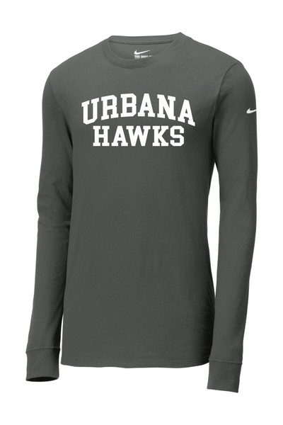 Urbana Hawks T-shirt LS NIKE Cotton Many Colors Available SZ S-3XL ANTHRACITE