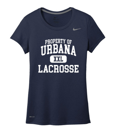 Urbana Hawks LACROSSE T-shirt NIKE Performance Dri-FIT Property of LADIES Sz S-2XL NAVY