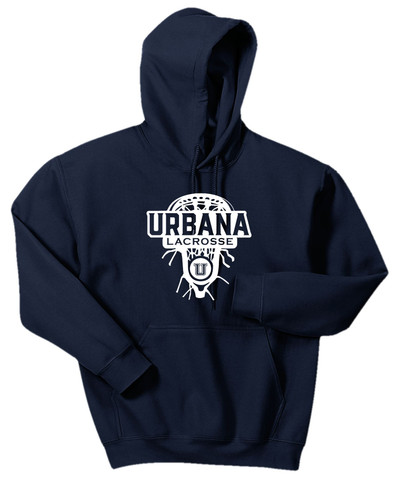 Urbana Hawks LACROSSE Cotton Hoodie Sweatshirt Lax Head Many Colors Available SZ S-3XL NAVY