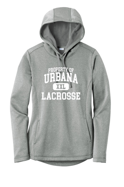 Urbana Hawks LACROSSE Hooded Performance PosiCharge Heather Fleece Pullover PROPERTY OF Sweatshirt LADIES  Many Colors Available Sizes XS-4XL DK SILVER HEATHER