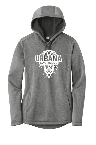 Urbana Hawks LACROSSE Hooded Performance PosiCharge Heather Fleece Pullover Sweatshirt LADIES  Many Colors Available Sizes XS-4XL BLACK HEATHER