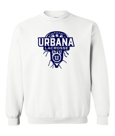 Urbana Hawks LACROSSE Cotton Crewneck Sweatshirt Lax Head Many Colors Available Size S-3XL WHITE