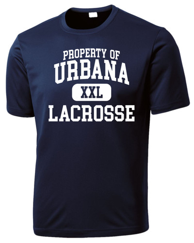 Urbana Hawks LACROSSE T-shirt Performance Posi Charge Competitor PROPERTY OF Many Colors Available SZ XS-4XL NAVY