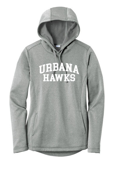 Urbana Hawks LACROSSE Hooded Performance PosiCharge Heather Fleece Pullover Sweatshirt LADIES Many Colors Available Sizes XS-4XL DARK SILVER HEATHER