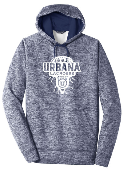 Urbana Hawks LACROSSE Hoodie Performance PosiCharge Electric Heather Fleece Pullover Sweatshirt LAX HEAD Many Colors Available  LADIES  Sizes XS-4XL TRUE NAVY ELECTRIC