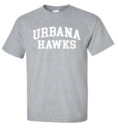 Urbana Hawks LACROSSE T-shirt Cotton Many Colors Available YOUTH SZ S-XL SPORTS GREY-WHITE PRINT