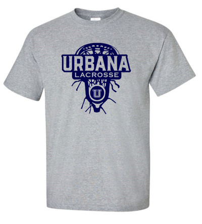 Urbana Hawks LACROSSE T-shirt Cotton LAX HEAD Many Colors Available YOUTH SZ S-XL  SPORTS GREY
