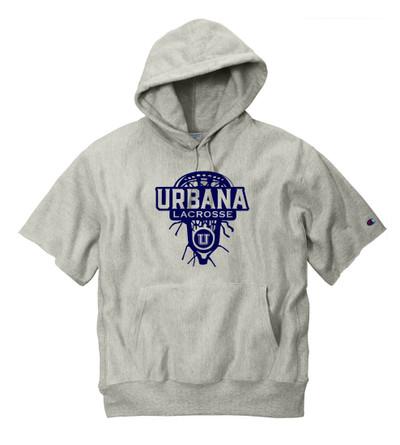 Urbana Hawks LACROSSE Reverse Weave Hoodie Sweatshirt HEAVYWEIGHT Short Sleeve CHAMPION Many Colors Available LAX HEAD Sz S-3XL OXFORD GREY