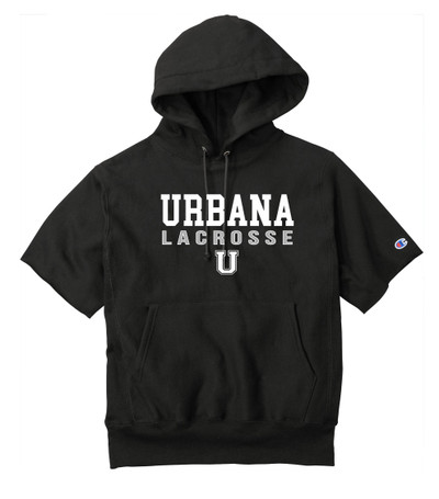 Urbana Hawks LACROSSE Reverse Weave Hoodie Sweatshirt HEAVYWEIGHT Short Sleeve CHAMPION Many Colors Available Sz S-3XL BLACK