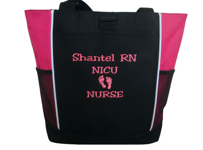 Baby Feet NICU Nursing Nurse ER RN Mother Baby Paramedic TROPICAL HOT PINK Tote Bag Font Style JESTER