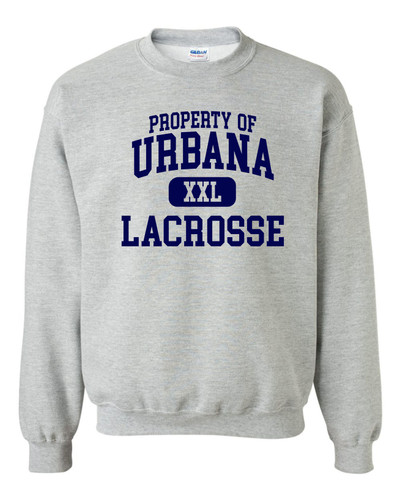 Urbana Hawks LACROSSE Cotton Crewneck Sweatshirt PROPERTY OF Many Colors Available SZ YOUTH S-XL SPORTS GREY