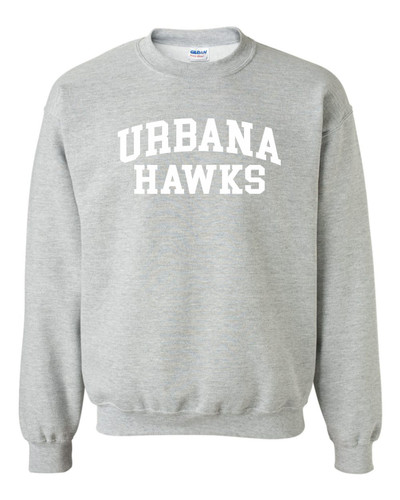 Urbana Hawks Cotton Crewneck Sweatshirt Many Colors Available SZ YOUTH S-XL SPROTS GREY (WHITE PRINT)