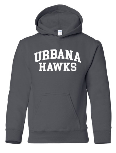 Urbana Hawks LACROSSE  Cotton Hoodie Sweatshirt YOUTH Many Colors Available SZ S-XL  CHARCOAL