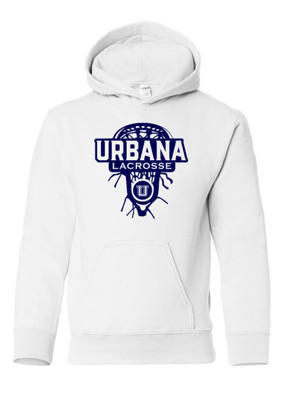 Urbana Hawks LACROSSE Cotton Hoodie Sweatshirt LAXHEAD YOUTH Many Colors Available SZ S-XL WHITE