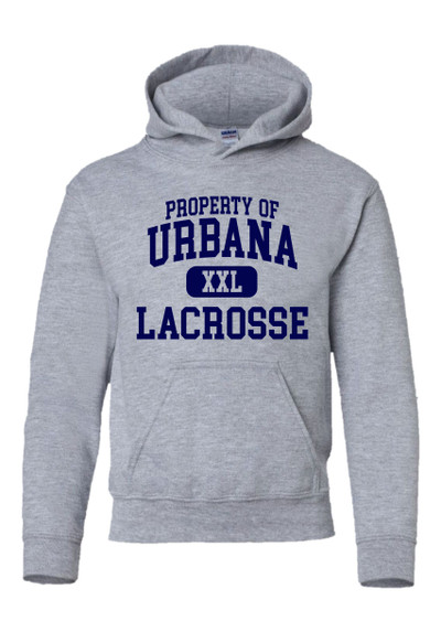 Urbana Hawks LACROSSE Cotton Hoodie Sweatshirt PROPERTY OF YOUTH Many Colors Available SZ S-XL  SPORTS GREY