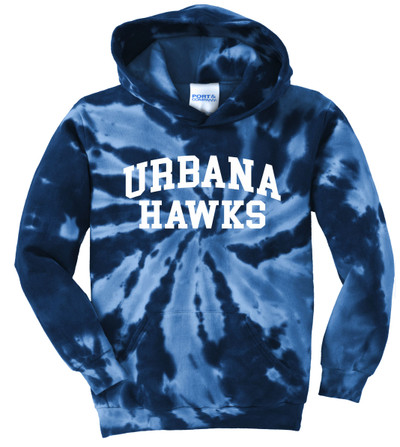 Urbana Hawks LACROSSE Cotton Hoodie Sweatshirt Tie Dyed Navy Spiral YOUTH  SZ S-XL