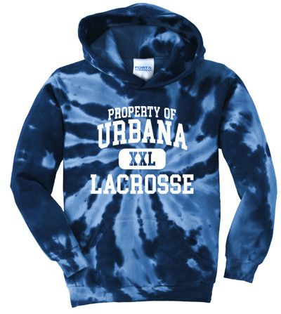 Urbana Hawks LACROSSE Cotton Hoodie Sweatshirt Tie Dyed Navy Spiral PROPERTY OF YOUTH SZ S-XL