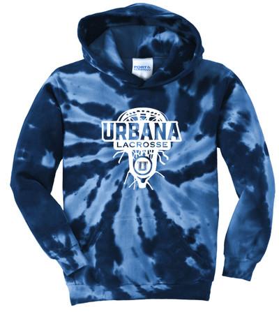 Urbana Hawks LACROSSE Cotton Hoodie Sweatshirt Tie Dyed Navy Spiral LAXHEAD YOUTH SZ S-XL