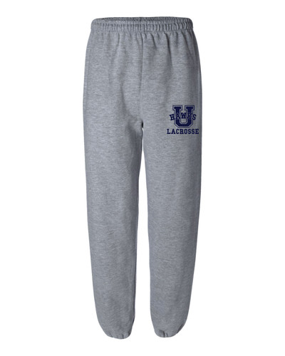 Urbana Hawks LACROSSE Sweatpants Cotton ELASTIC CUFF  Colors Navy or Sports Grey Available YOUTH SIZES S-XLSPORTS GREY