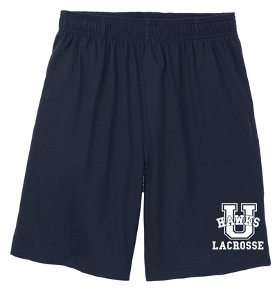 Urbana Hawks LACROSSE Shorts Cotton Jersey Knit with Pockets Many Colors Available SIZE S-3XL NAVY