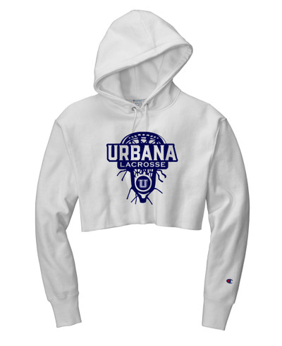 Urbana Hawks LACROSSE Reverse Weave Hoodie Sweatshirt CHAMPION HEAVYWEIGHT Many Colors Available LAX HEAD LADIES Sz S-2XL WHITE