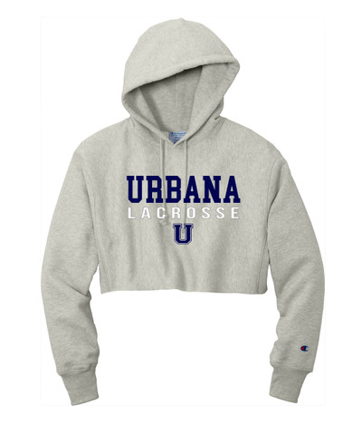 Urbana Hawks LACROSSE Reverse Weave Hoodie Sweatshirt CHAMPION HEAVYWEIGHT Many Colors Available LAX HEAD LADIES  Sz S-2XL OXFORD GREY