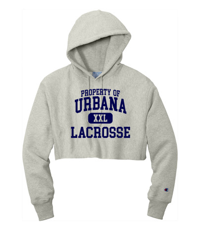 Urbana Hawks LACROSSE Reverse Weave Hoodie Sweatshirt CHAMPION HEAVYWEIGHT Many Colors Available PROPERTY OF LADIES Sz S-2XL OXFORD GREY