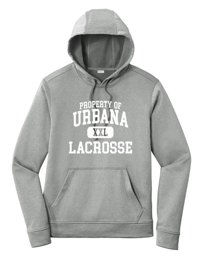 Urbana Hawks LACROSSE Hooded Performance PosiCharge Heather Fleece Pullover Sweatshirt PROPERTY OF Many Colors Available SZ XS-4XL DARK SILVER HEATHER