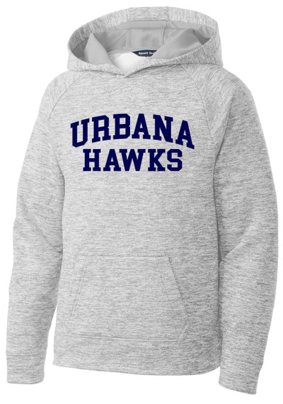 Urbana Hawks Hoodie Performance PosiCharge Electric Heather Fleece Pullover Sweatshirt Many Colors Available YOUTH Sizes S-XL SILVER ELECTRIC
