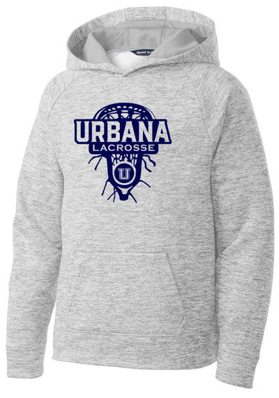 Urbana Hawks LACROSSE Hoodie Performance PosiCharge Electric Heather Fleece Pullover Sweatshirt LAX HEAD Many Colors Available YOUTH Sizes S-XL SILVER ELECTRIC