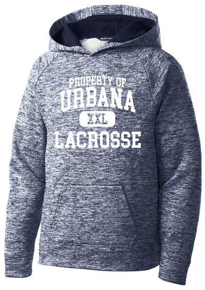 Urbana Hawks LACROSSE Hoodie Performance PosiCharge Electric Heather Fleece Pullover Sweatshirt PROPERTY OF Many Colors Available YOUTH Sizes S-XL TRUE NAVY ELECTRIC
