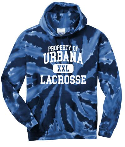 Urbana Hawks LACROSSE Cotton Hoodie Sweatshirt Tie Dyed Navy Spiral PROPERTY OF SZ S-3XL