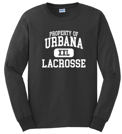 Urbana Hawks LACROSSE T-shirt Cotton LONG SLEEVE PROPERTY OF Many Colors Available  SZ S-3XL CHARCOAL