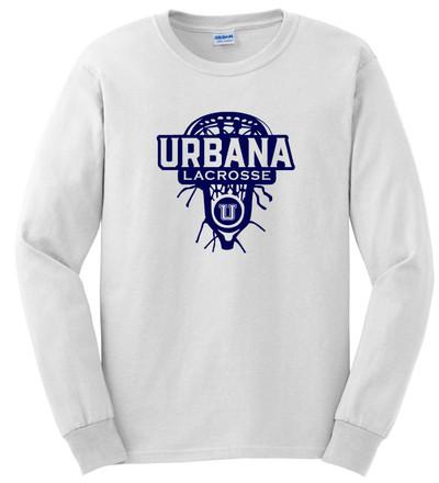 Urbana Hawks LACROSSE T-shirt Cotton LONG SLEEVE LAX HEAD Many Colors Available SZ S-3XL WHITE