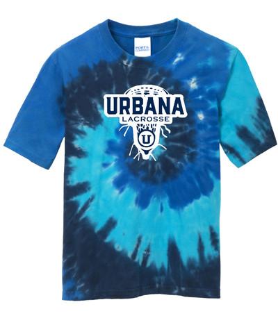 Urbana Hawks LACROSSE T-shirt Cotton TIE DYE OCEAN RAINBOW LAXHEAD Size S-4XL