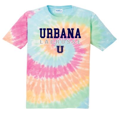 Urbana Hawks LACROSSE T-shirt Cotton  TIE DYE PASTEL RAINBOW  Size S-4XL