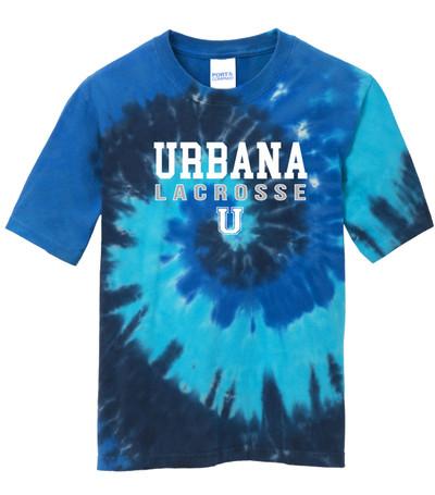 Urbana Hawks LACROSSE T-shirt Cotton TIE DYE OCEAN RAINBOW Size YOUTH S-L