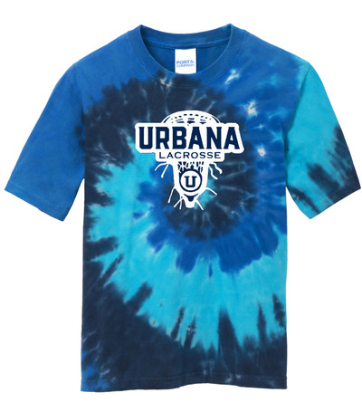 Urbana Hawks LACROSSE T-shirt Cotton TIE DYE OCEAN RAINBOW LAXHEAD Size YOUTH S-L
