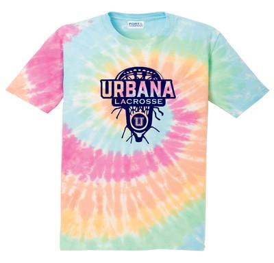 Urbana Hawks LACROSSE T-shirt Cotton TIE DYE PASTEL RAINBOW LAXHEAD YOUTH SZ S-L