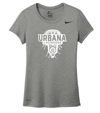 Urbana Hawks LACROSSE T-shirt NIKE Performance Dri-FIT LAXHEAD LADIES Sz S-2XL CARBON HEATHER