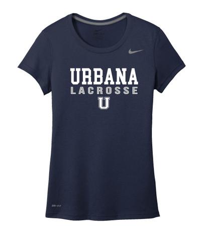 Urbana Hawks LACROSSE T-shirt NIKE Performance Dri-FIT LADIES  Sz S-2XL NAVY