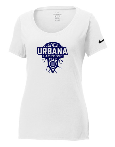 Urbana Hawks LACROSSE T-shirt NIKE Cotton Scoop Neck T-shirt LAXHEAD Many Colors Available LADIES Sz S-2XL WHITE