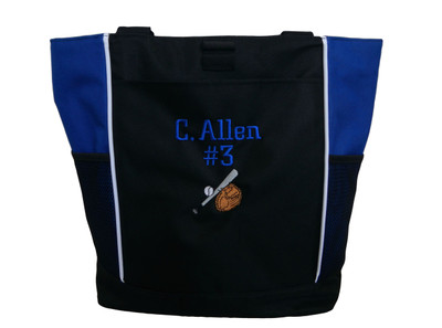 Baseball Softball Bat Glove Little League All Star Team Mom ROYAL BLUE Zippered Tote Bag Font Style CHICAGO