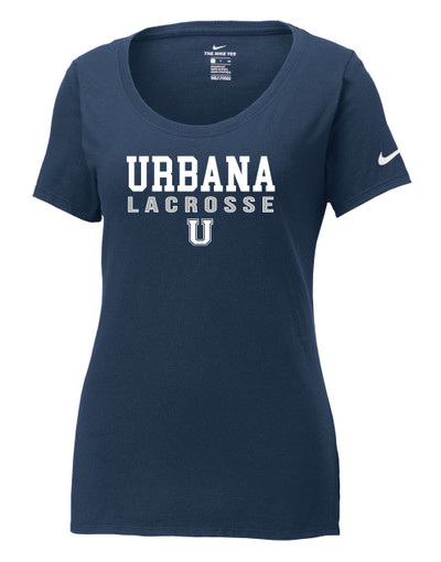 Urbana Hawks LACROSSE T-shirt NIKE Cotton Scoop Neck T-shirt Many Colors Available LADIES Sz S-2XL NAVY