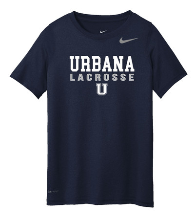 Urbana Hawks LACROSSE T-shirt NIKE Performance Dri-FIT  Many Colors Available YOUTH  Sz S-L  NAVY