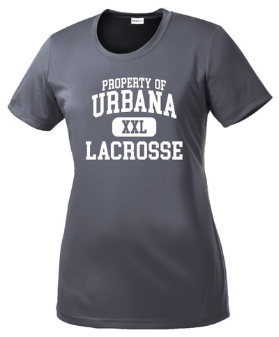Urbana Hawks LACROSSE T-shirt Performance Posi Charge Competitor PROPERTY OF Many Colors Available LADIES SZ XS-4XL GREY CONCRETE
