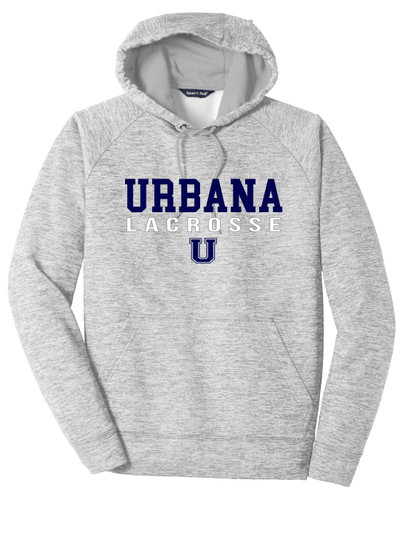 Urbana Hawks LACROSSE Hoodie Performance PosiCharge Electric Heather Fleece Pullover Sweatshirt Many Colors Available SILVER ELECTRIC