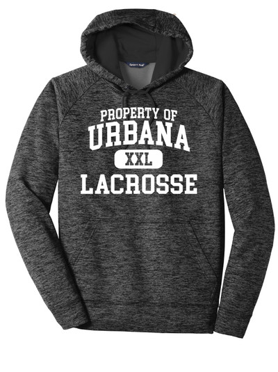 Urbana Hawks LACROSSE Hoodie Performance PosiCharge Electric Heather Fleece Pullover Sweatshirt PROPERTY OF Many Colors Available Sizes XS-4XL GREY/BLACK ELECTRIC