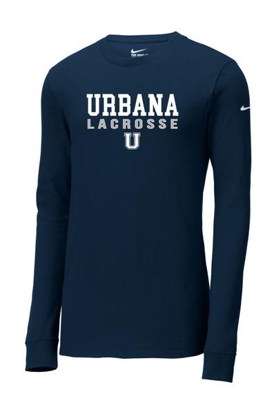 Urbana Hawks LACROSSE T-shirt LS NIKE Cotton  Many Colors Available SZ S-3XL SIZING chart NAVY